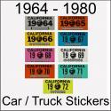 CA YOM DMV Car / Truck / Trailer Stickers 1964 - 1980