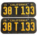 1940 - 1946 CA License Plates For Sale