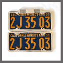 California YOM License Plate Frames Pair 1929 - 1939 for DMV Month Year Stickers