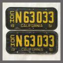 1951 California YOM License Plates For Sale - Original Vintage Pair N63033