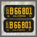 1951 California YOM License Plates For Sale - Restored Vintage Pair B66801
