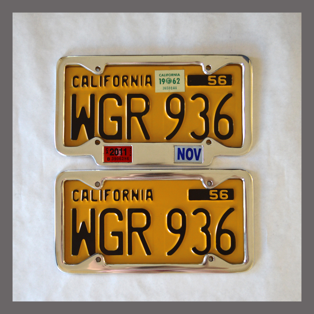 California YOM License Plate Frames Pair 1956 - Current for DMV ...