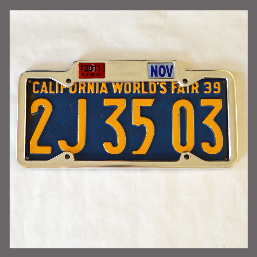 California YOM License Plate Frame 1929 - 1939 for DMV Month Year ...