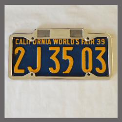 California YOM License Plate Frame 1929 - 1939 for DMV Month Year Stickers