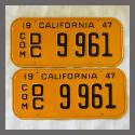 1947 California YOM License Plates For Sale - Restored Pair DC9961 Truck