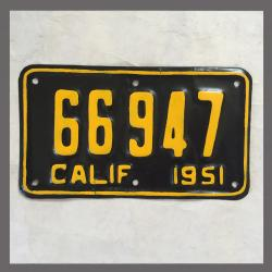 1951 California YOM Motorcycle License Plate For Sale - 66947