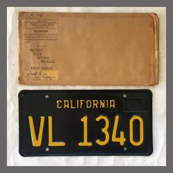 1963 California YOM Trailer License Plate For Sale - Original Vintage VL1340 NOS