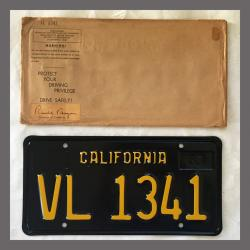 1963 California YOM Trailer License Plate For Sale - Original Vintage VL1341 NOS