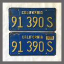 1970 1971 1972 1973 1974 1975 1976 1977 1978 1979 1980 California YOM License Plates Pair Original 91390S Truck