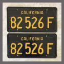 1963 California YOM License Plates For Sale - Repainted Vintage Pair 82526F