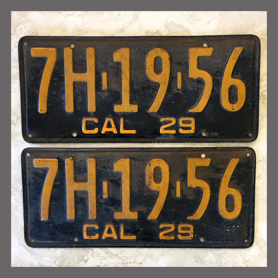 1929 California Yom License Plates For Sale Original