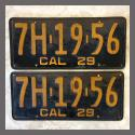 1929 California YOM License Plates For Sale - Original Vintage Pair 7H1956