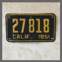 1951 California YOM Motorcycle License Plate For Sale - 27818