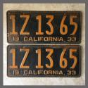 1933 California YOM License Plates Pair Original 1Z1365