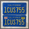 1980 California YOM License Plates For Sale - Original Vintage Pair 1CUS755