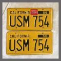 1956 California YOM License Plates For Sale - Original Vintage Pair USM754