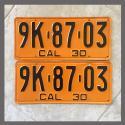 1930 California YOM License Plates Pair Repainted 9K8703