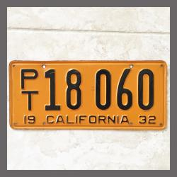 1932 California Trailer License Plate For Sale - Original Vintage PT18060