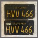 1963 California YOM License Plates For Sale - Original Vintage Pair HVV466