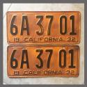 1932 California YOM License Plates For Sale - Repainted Vintage Pair 6A3701