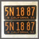 1933 California YOM License Plates Pair Original 5N1887