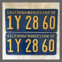 1939 California YOM License Plates For Sale - Restored Vintage Pair 1Y2860
