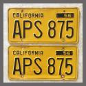 1956 California YOM License Plates For Sale - Original Vintage Pair APS875