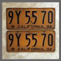 1932 California YOM License Plates For Sale - Original Pair 9Y5570