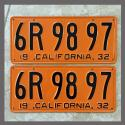 1932 California YOM License Plates For Sale - Restored Vintage Pair 6R9897