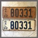 1922 California YOM License Plates For Sale - Original Vintage Pair 80331