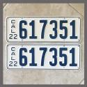 1922 California YOM License Plates For Sale - Restored Vintage Pair 617351