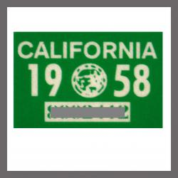 1958 California YOM DMV Motorcycle Sticker For Sale