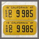 1947 California YOM License Plates For Sale - Restored Pair 9985 Truck