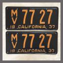 1937 California YOM License Plates For Sale - Restored Vintage Pair MV7727