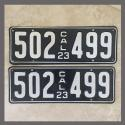 1923 California YOM License Plates For Sale - Restored Vintage Pair 502499
