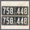 1923 California YOM License Plates For Sale - Original Vintage Pair 758448