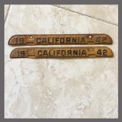 1942 California YOM DMV Metal Tags / Tabs For Sale