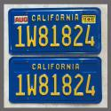 1975-1980 California YOM License Plates Pair Original 1W81824 Truck