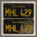 1963 California YOM License Plates For Sale - Vintage Pair MHL429