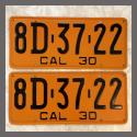 1930 California YOM License Plates For Sale - Repainted Vintage Pair 8D3722