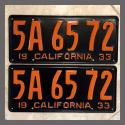 1933 California YOM License Plates For Sale - Restored Vintage Pair 5A6572