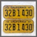 1947 California YOM License Plates Pair Original 32B1430
