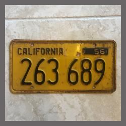 1956 California YOM Trailer License Plate For Sale - Original Vintage 263689