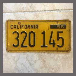 1956 California YOM Trailer License Plate For Sale - Original Vintage 320145