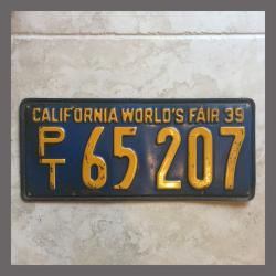 1939 California Trailer License Plate For Sale - Original Vintage PT65207