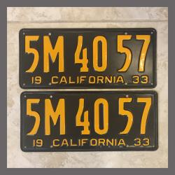 1933 California YOM License Plates For Sale - Restored Vintage Pair 5M4057