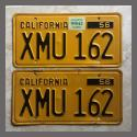 1956 California YOM License Plates For Sale - Original Vintage Pair XMU162