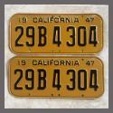 1947 California YOM License Plates Pair Original 29B4304