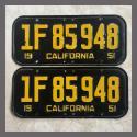 1951 California YOM License Plates For Sale - Original Vintage Pair 1F85948