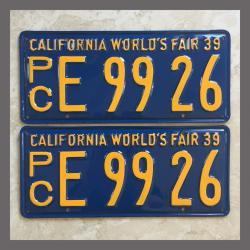 1939 California YOM License Plates For Sale - Restored Vintage Pair E9926 Truck
